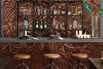 MIRROFLEX-STRUCTURES - Sculpted Petals - Oil Rubbed Bronze - Restaurant Bar Installation