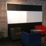 Magnetic whiteboard wall porcelain coated steel and back painted glass