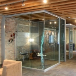 View series frameless corner glass office with soft close sliding door hardware