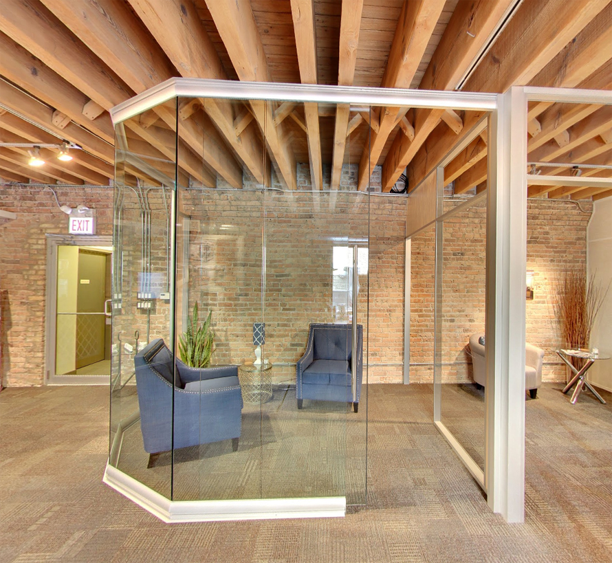 View series modular curved glass wall with anodized aluminum frame