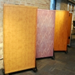 Powdercoat aluminum samples bamboo, marble, and elm with matching wall trim