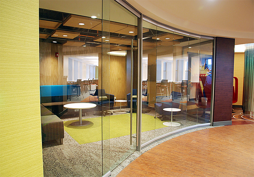 View glass office wall system for Curved glass wall