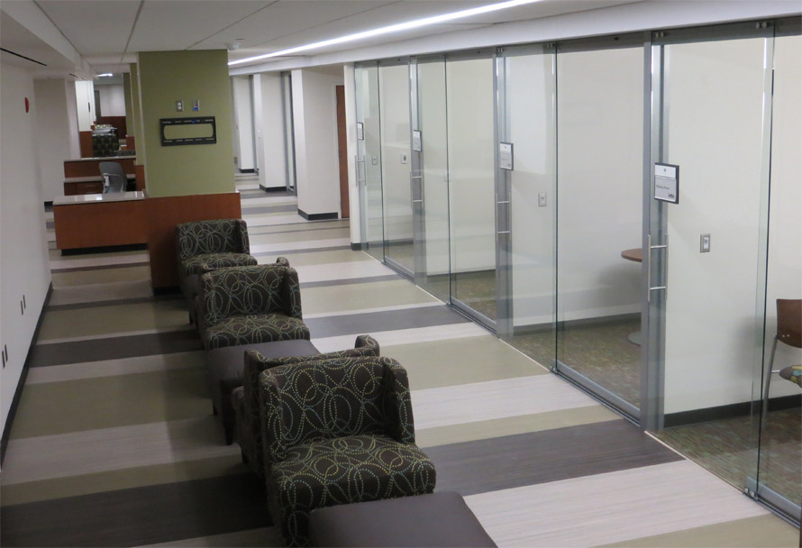 View glass office wall system for Floor to ceiling folding glass doors
