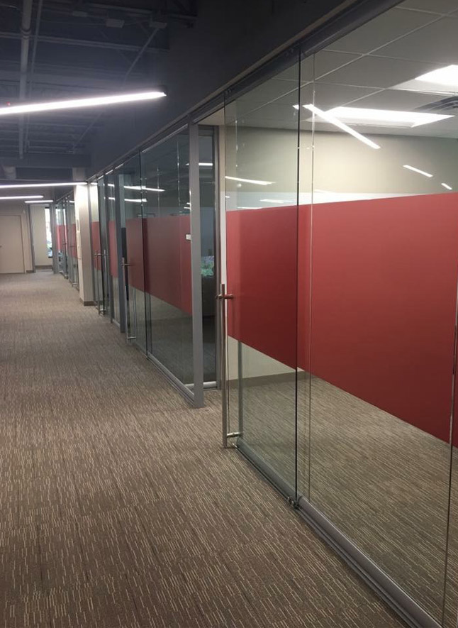 View glass offices wingback sidewalls red matte window film