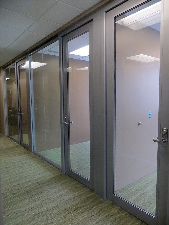 Administration offices glass fronts View series walls