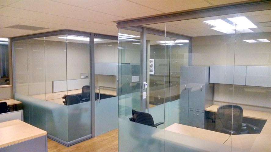 Full height open corner glass University offices