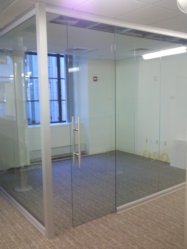 Glass office with sliding full height door
