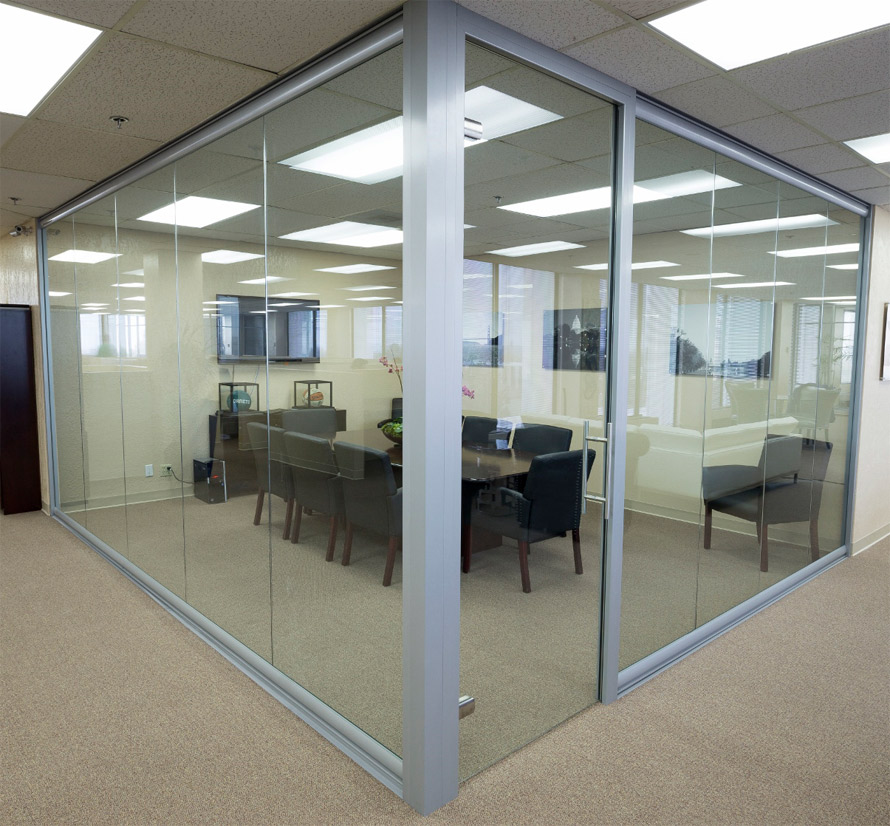 Glass Wall Conference Room With Frameless Swing Door
