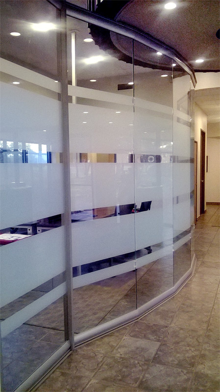 Privacy glass full height glass conference room (curved wall)