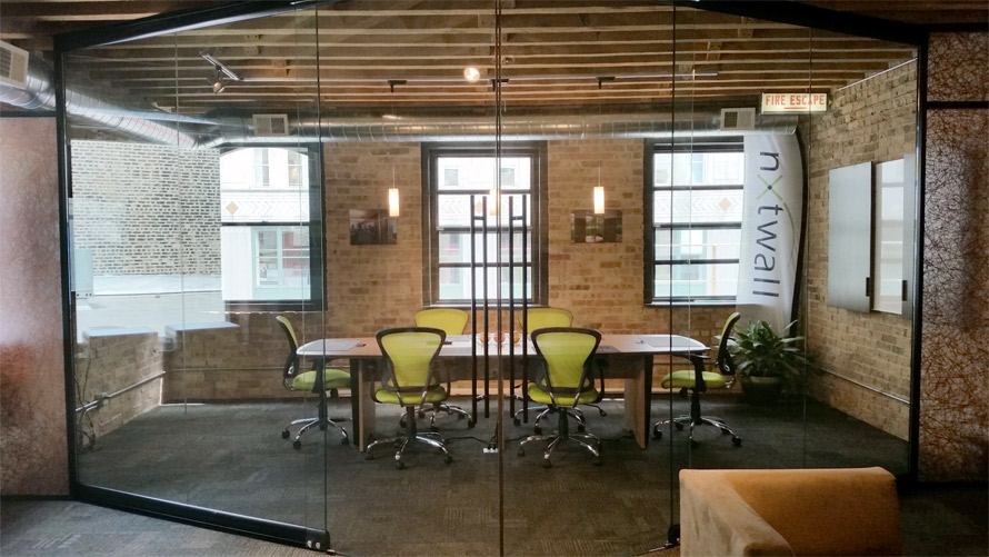 Prow conference room entrance View series glass walls