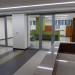 Centered glass office fronts with swing aluminum doors - MSU