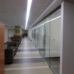 Glass wall offices - University application of View series centered glass walls