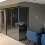 View Series Glass Walls University Student Lounge Brownstone Finish