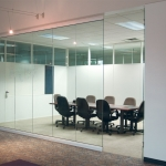 View Series glass conference room with milk white framing finish