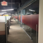 View Series glass wall installation red matte film