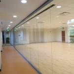 Center mount butt-joint glass wall multipurpose room