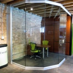 Angled / Curved glass wall office at Chicago movable wall showroom