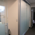 Frosted glass sliding door offices