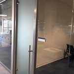 Frosted tempered glass door with locking door ladderpull
