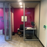 Glass office with custom wingback sidewall