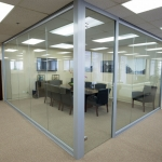 Glass wall Conference room with frameless glass swing door