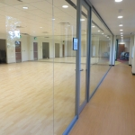 Seamless glass multipurpose room - center mount glass walls