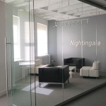 Sliding frameless glass door with barpull (View Series)
