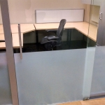 Sliding glass door with frosted film