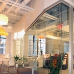 Curved glass wall offices