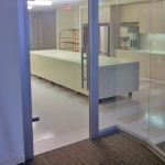 Glass swing door and View Series glass angled corner