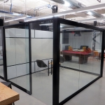 Freestanding glass offices with black framing - View Series