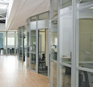 curved glass wall for education interiors