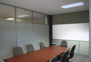 demountable wall solid fabric clerestory window with white board in conference room