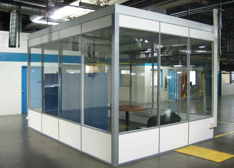 In plant modular office used as team room to improve for Movable glass wall systems