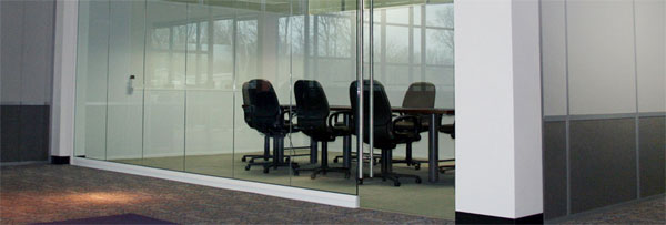 conference room with glass modular wall panels