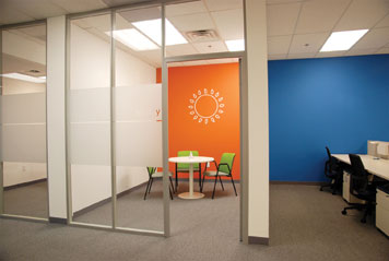 moveable glass offices walls with pre-existing walls