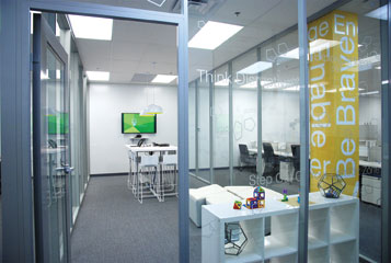 clerestory and full glass office walls