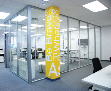 floor to ceiling glass office walls