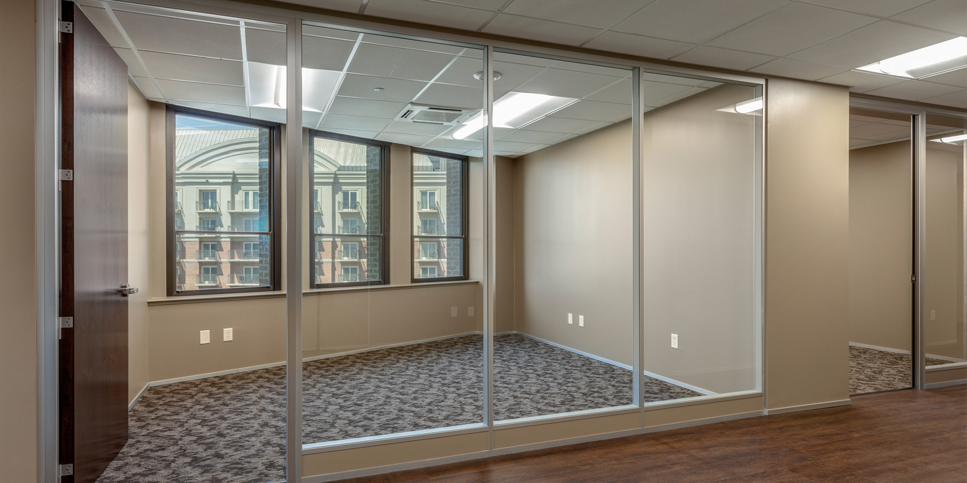 NxtWall Flex Series Architectural Glass Walls with Modular Power Strip