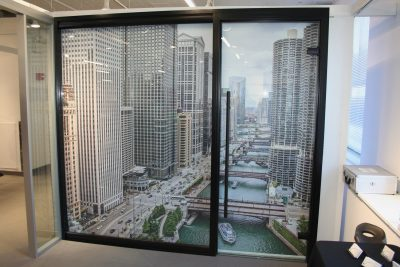 NxtWall View Series Glass Wall with Black Framing - Interior Booth Image