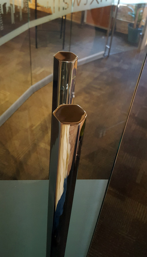 Hex Ladder door pull polished stainless finish