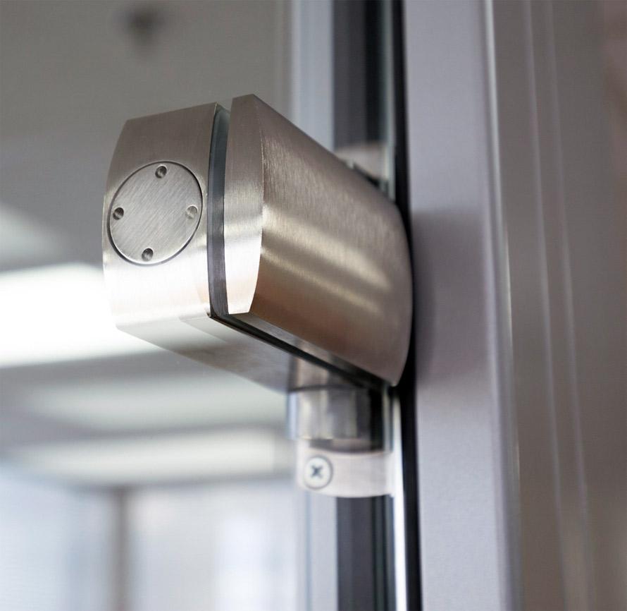 Metal door hinge for glass doors detail