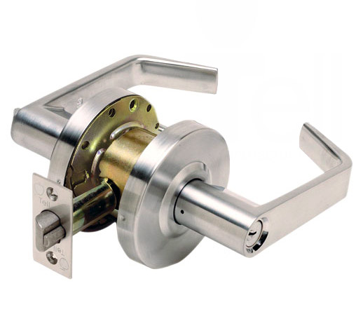 Standard duty steel coated cylindrical door locking leverset non-handed