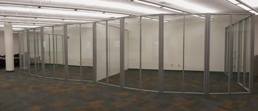 Radius Glass Freestanding Wall System - Flex Series