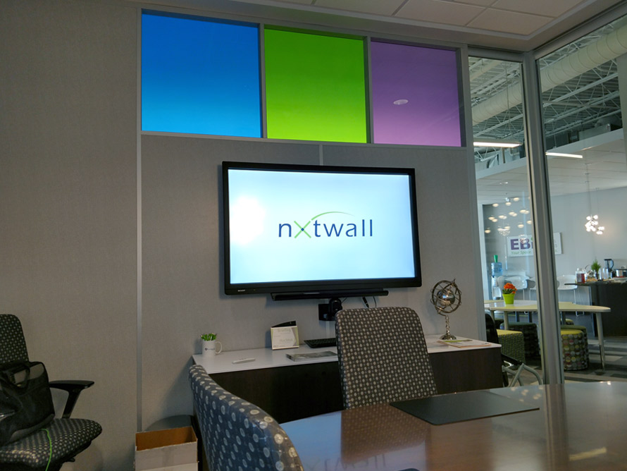 Flex Series Conference Room (Monitor Mount to Fabric Wall) Designer Window Film Glass Clerestory