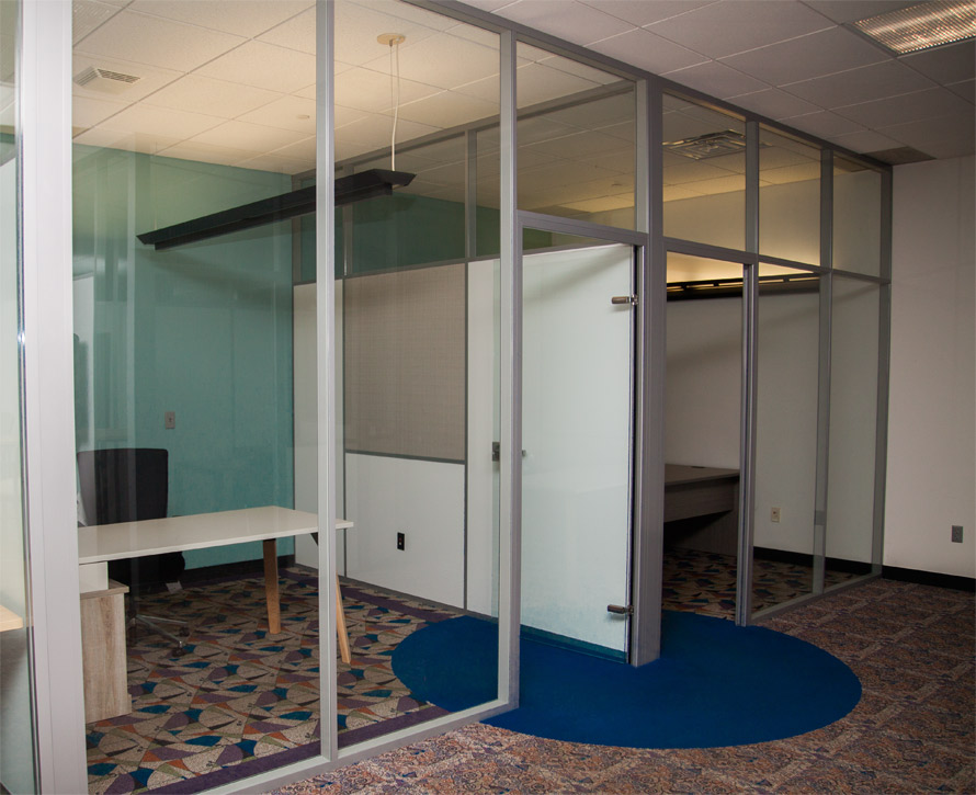 Glass Offices with Powered Solid Sidewalls