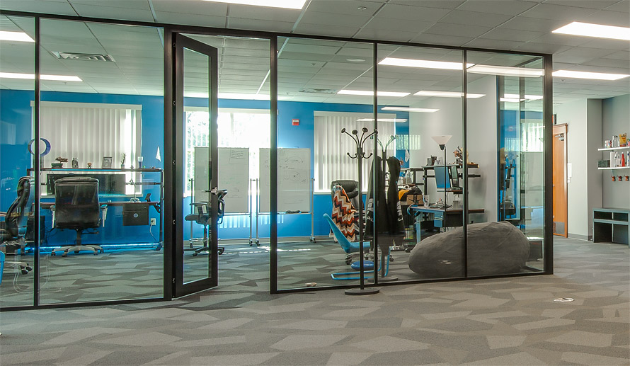 Technology and Gaming Flex Series Glass Wall Installation