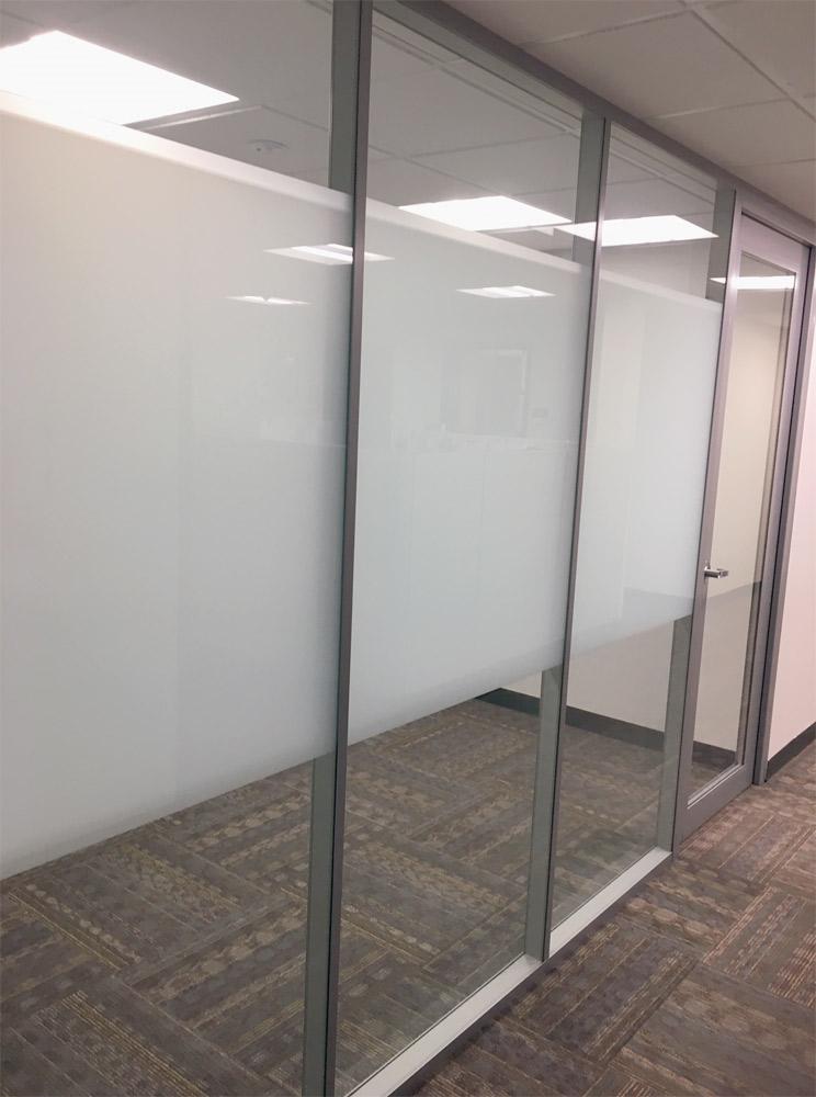 Flex Series wall with privacy window film