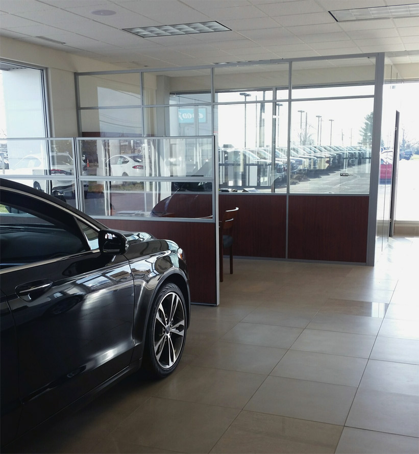 Flex Series car dealership office to match existing divider furnishings