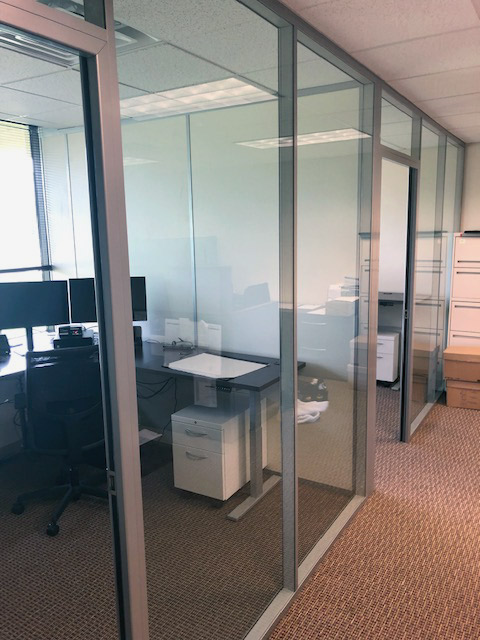 Flex series glass fronts with solid side wall offices